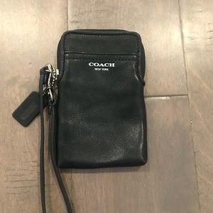 Coach Black Leather Wristlet Wallet Silver Accent